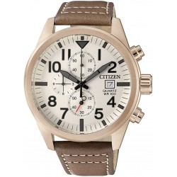 Мъжки часовник CITIZEN Rose Gold Chronograph Leather Strap - AN3623-02A