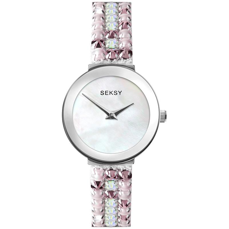 Дамски часовник Seksy Iridescent Pink Slim Swarovski Crystals - S-2949.37